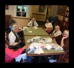 Ladies from Sunrise making Boo-Boo Bags: Helen, Gloria, Cloe, Terry, Mary, Grace and Sandy